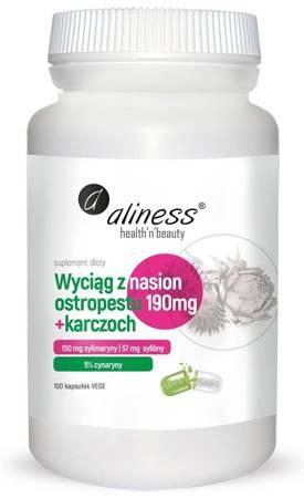 Aliness Ostropest Plamisty 190 mg Extract + Karczoch 100 kapsułek vege