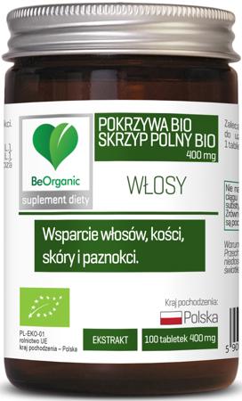 BeOrganic Skrzyp BIO + Pokrzywa BIO 400 mg 100 tabletek