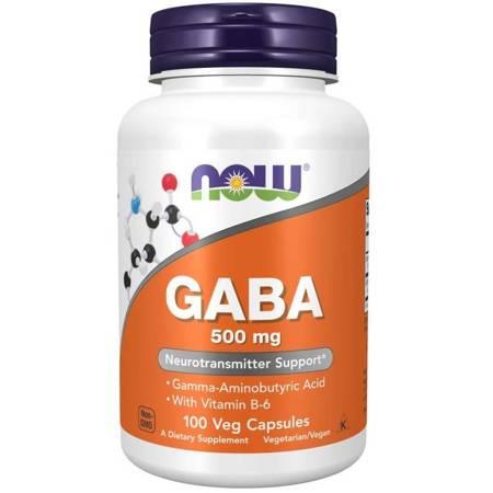 Now Foods GABA (Kwas Gamma Aminomasłowy) 500 mg 100 veg kapsułek