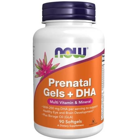 Now Foods Prenatal Gels + DHA (Multiwitamina i Minerały) 90 kapsułek