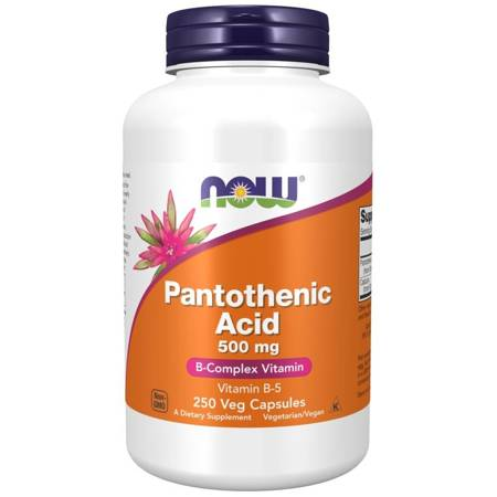 Now Foods Witamina B5 (Kwas pantotenowy) 500 mg 250 kapsułek