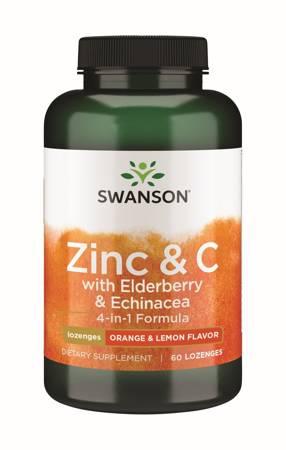 Swanson Czarny Bez + Cynk + Witamina C + Echinacea (4-in-1 formula) 60 tabletek