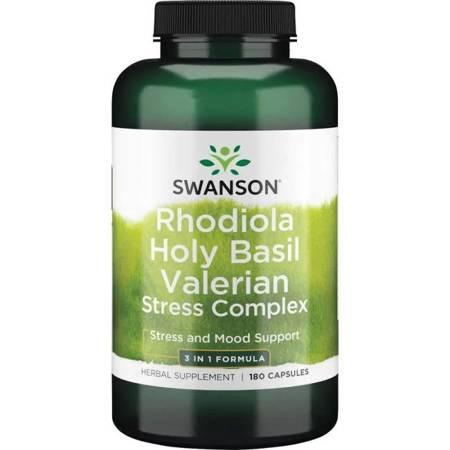 Swanson Rhodiola, Holy Basil i Valerian Stress Complex 180 kapsułek