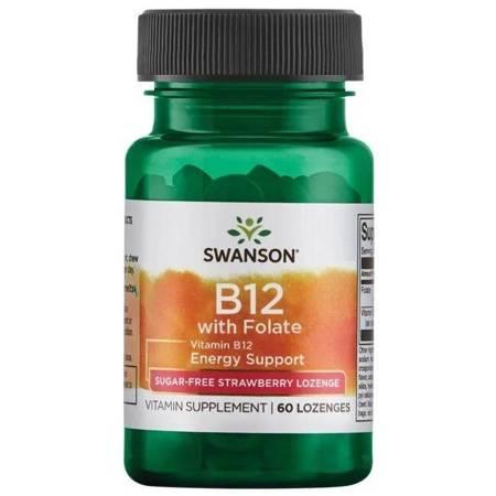 Swanson Witamina B12 1000 mcg + Kwas Foliowy 400 mcg 60 tabletek pod język